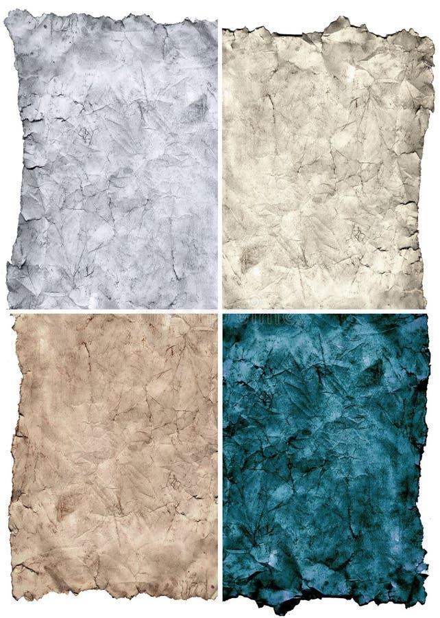 texturer för gammalt papper för grunge set stock illustrationer