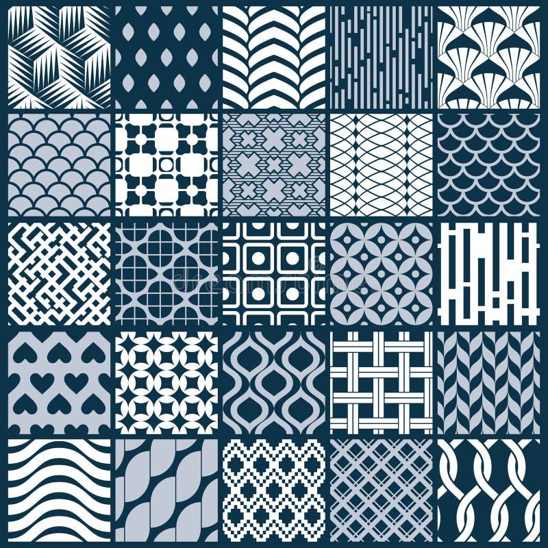 Texturer för tappning för vektordiagram som skapas med fyrkanter, romber stock illustrationer