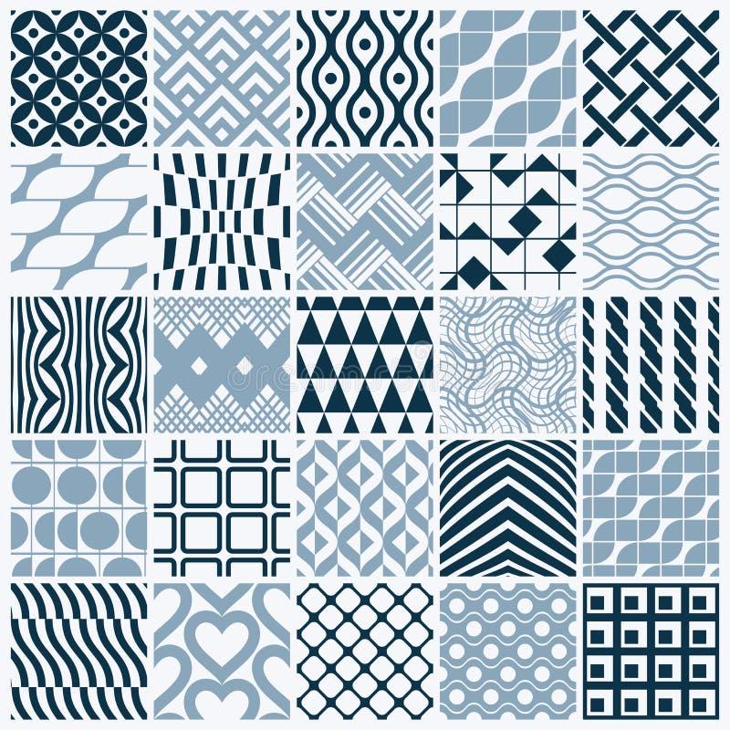 Texturer för tappning för vektordiagram som skapas med fyrkanter, romber royaltyfri illustrationer