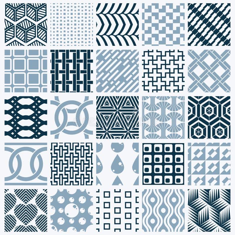 Texturer för tappning för vektordiagram som skapas med fyrkanter, romber vektor illustrationer
