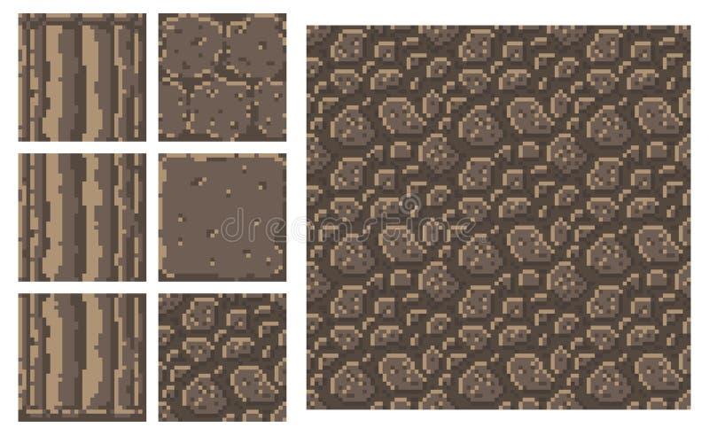 Texturera för vektorn för platformersPIXELkonst - kvarter för kolonn för tegelstenstenvägg vektor illustrationer