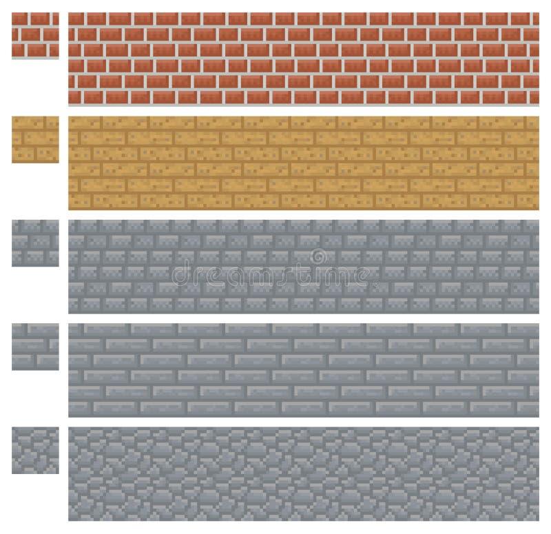Texturera för vektorn för platformersPIXELkonst - tegelsten-, sten- och trävägg stock illustrationer