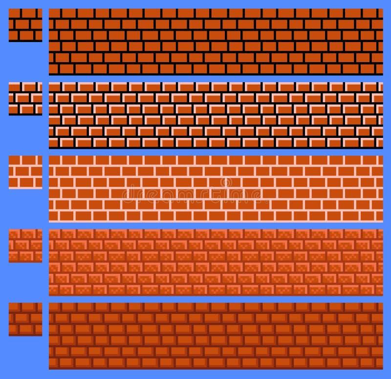 Texturera för vektorn för platformersPIXELkonst - tegelstenvägg royaltyfri illustrationer