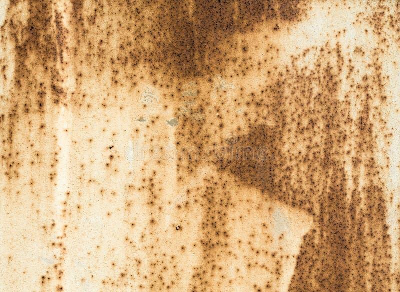 Texturera gammal målad beige målarfärg för metallyttersida med rost royaltyfria bilder