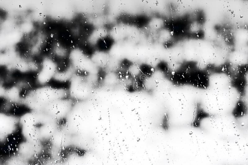 Texturera regndroppar på fönsterexponeringsglas för regn, svartvita färger, fotoet, ovanlig bakgrund royaltyfri bild