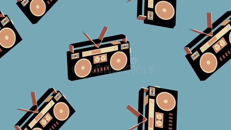 Texturera ` s, 80 ` s, 90 ` s för ljudkassetter 70 för registreringsapparaten för ljudbandet för musik för sömlös för modellen ga royaltyfri illustrationer