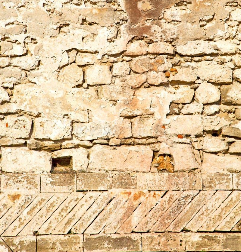 texturera väggen i africa Marocko den gamla concren för tegelstenkonstruktion royaltyfria foton