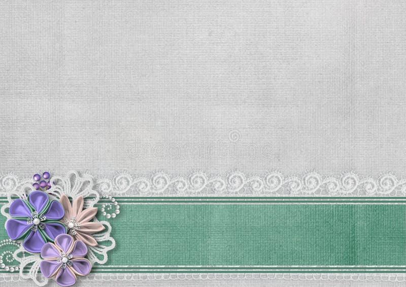 Texturerad bakgrund med gränsen och handgjorda blommor arkivfoton