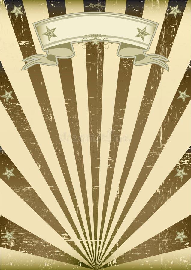 Texturerad brun tappningaffisch stock illustrationer
