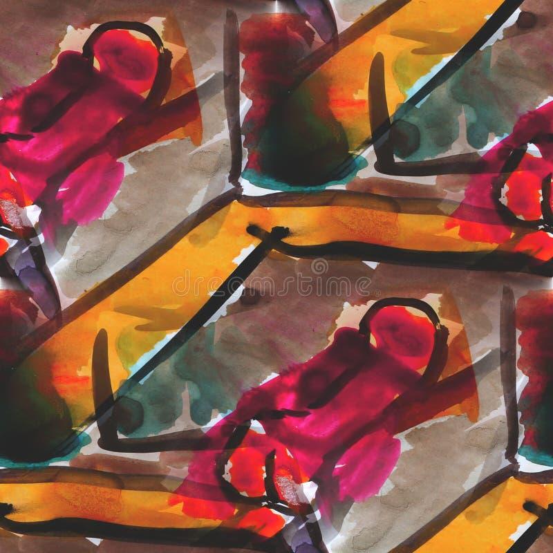 Texturerad brunt, guling, röd sömlös palett vektor illustrationer