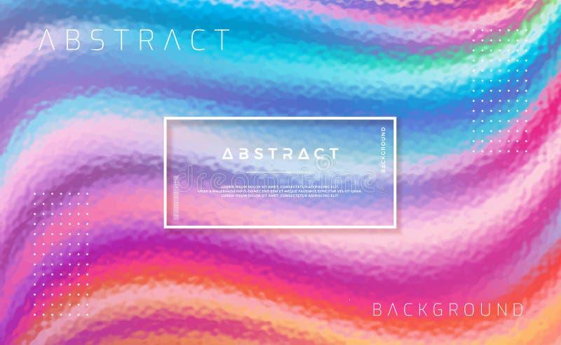 Texturerad färgrik bakgrund med blå, grön, orange, röd, purpurfärgad och rosa färg Moderiktig bakgrund med moderiktig lutningfärg stock illustrationer