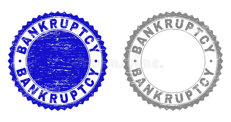 Texturerad KONKURS skrapade stämplar royaltyfri illustrationer