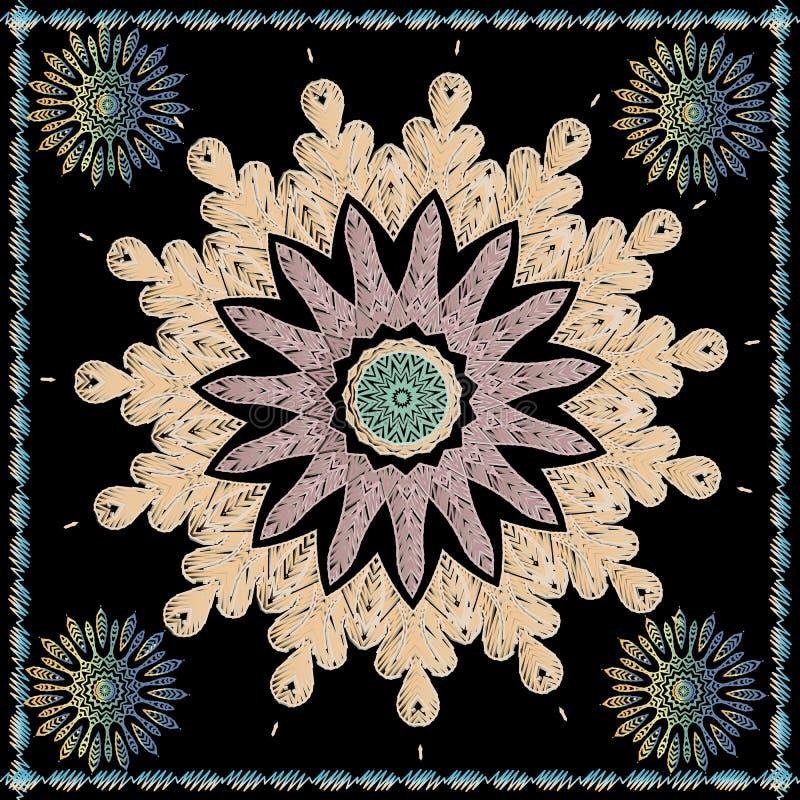 Texturerad modell för mandala för etnisk stilbroderi blom- Rund tappningprydnad för färgrik gobeläng Dekorativ ram för fyrkantig  vektor illustrationer