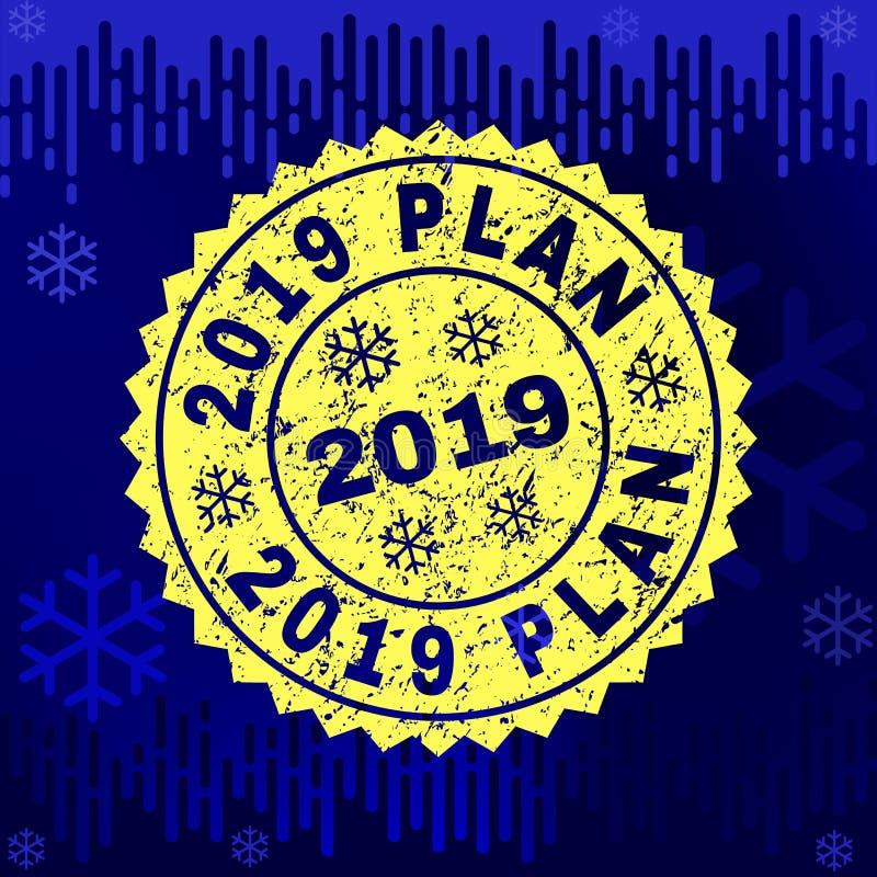 Texturerad stämpelskyddsremsa för 2019 PLAN på vinterbakgrund royaltyfri illustrationer