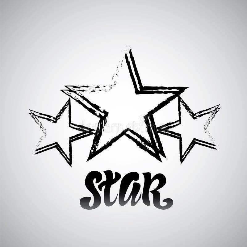 Texturerad stjärna som används för stämplar, baner Grön glass stjärna för vektor royaltyfri illustrationer