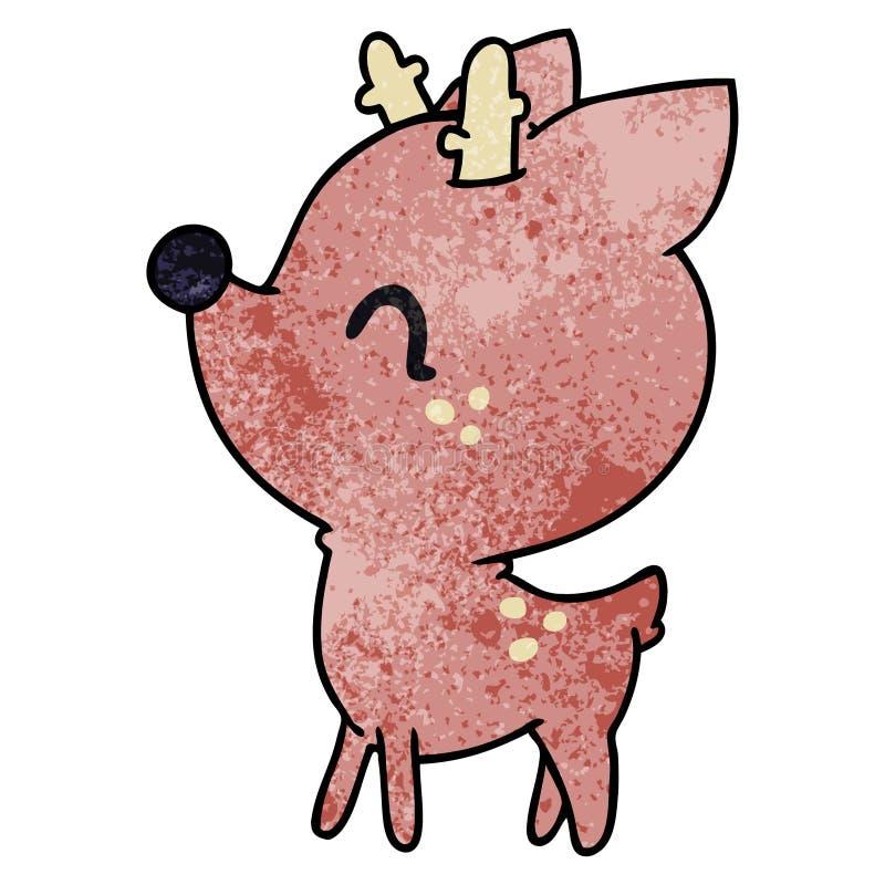 texturerad tecknad film av gulliga hjortar f?r kawaii stock illustrationer
