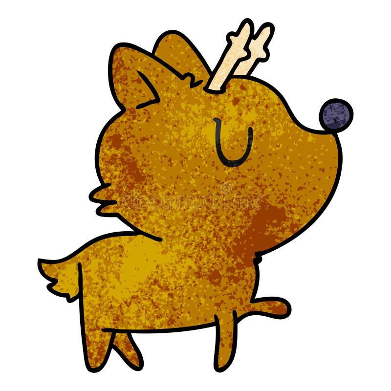 texturerad tecknad film av gulliga hjortar f?r kawaii royaltyfri illustrationer