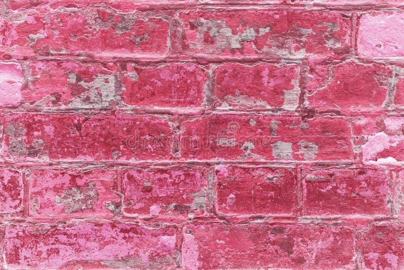 Texturerad tegelstenvägg av ljus - rosa färger färgar fotografering för bildbyråer