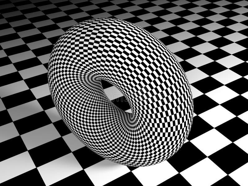 Texturerad torus på texturerad yttersida - tolkning 3D vektor illustrationer
