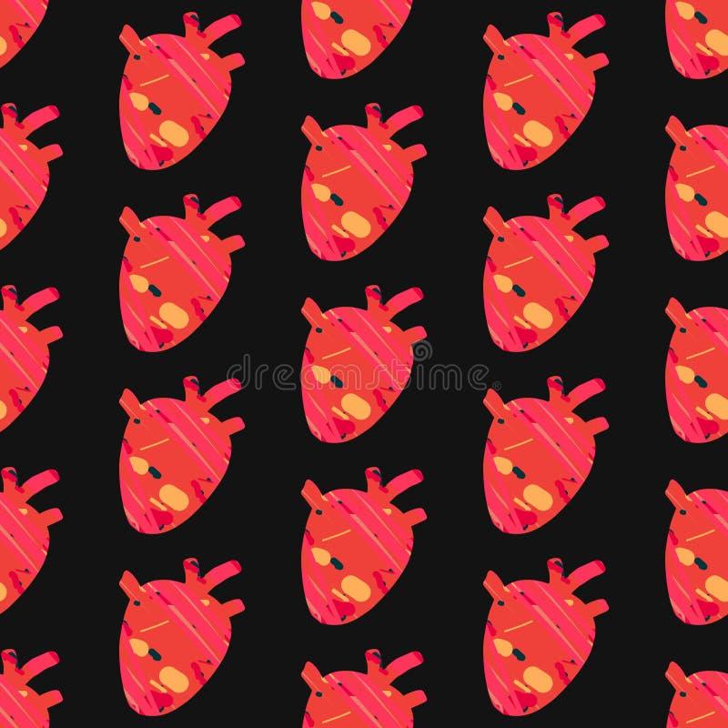 Texturerad utdragen sömlös modell för röd hjärtahand i tecknad filmstil på svart stilsort vektor illustrationer