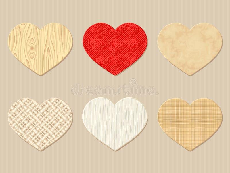 Texturerad valentin trä-, trasa- och pappershjärtor Vektor EPS-10 vektor illustrationer