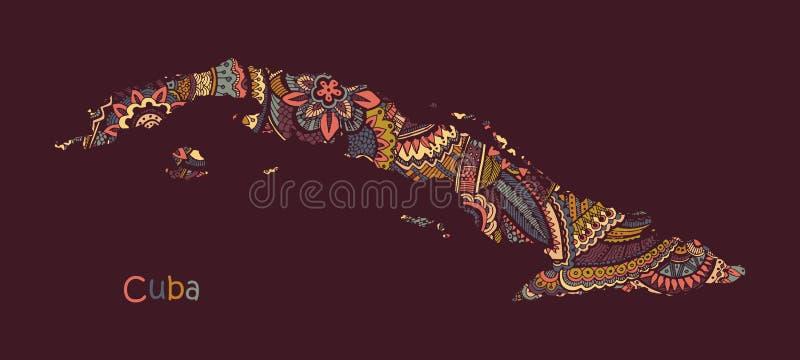 Texturerad vektoröversikt av Kuban Illustration i stil för handteckningsklotter royaltyfri illustrationer