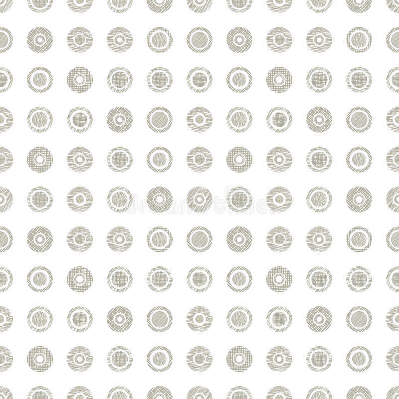 Texturerade den geometriska modellen för den sömlösa vektorn med pastellfärgad ändlös bakgrund för cirklar med den drog handen ge royaltyfri illustrationer