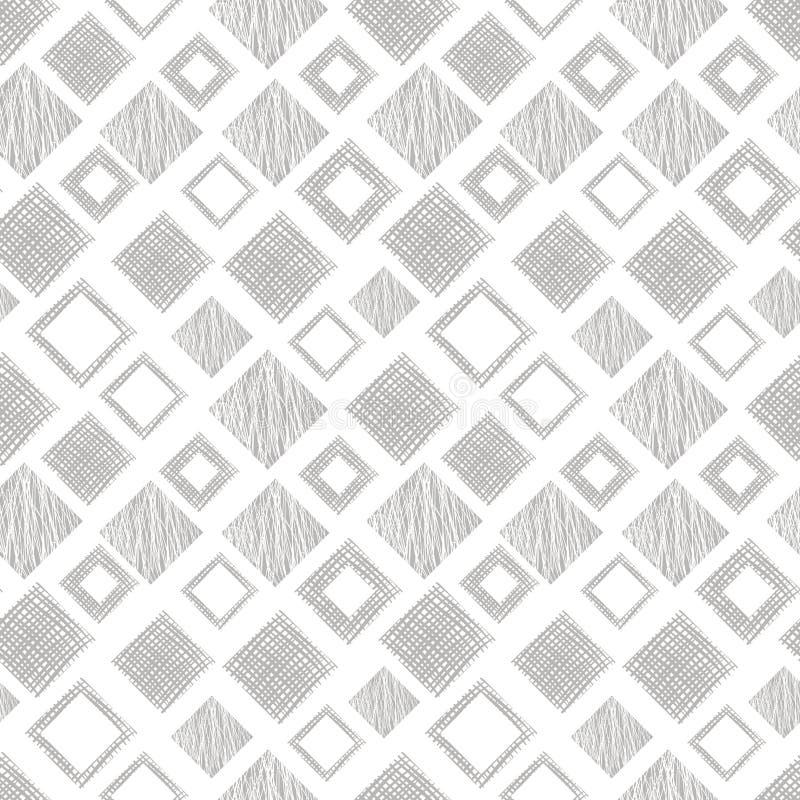 Texturerade den geometriska modellen för den sömlösa vektorn med romben, fyrkanter, ändlös bakgrund för rektanglar med den drog h royaltyfri illustrationer
