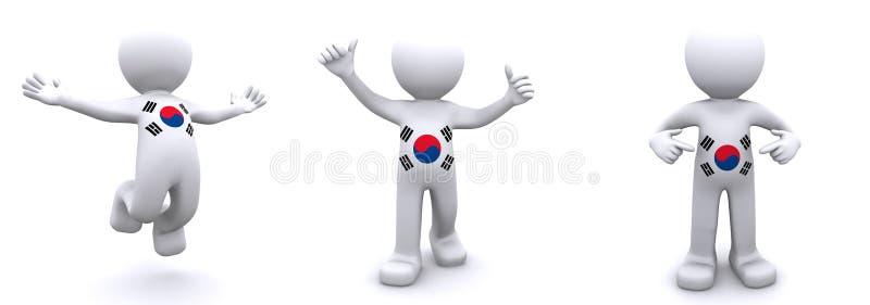 texturerade flaggakorea för tecken 3d söder vektor illustrationer