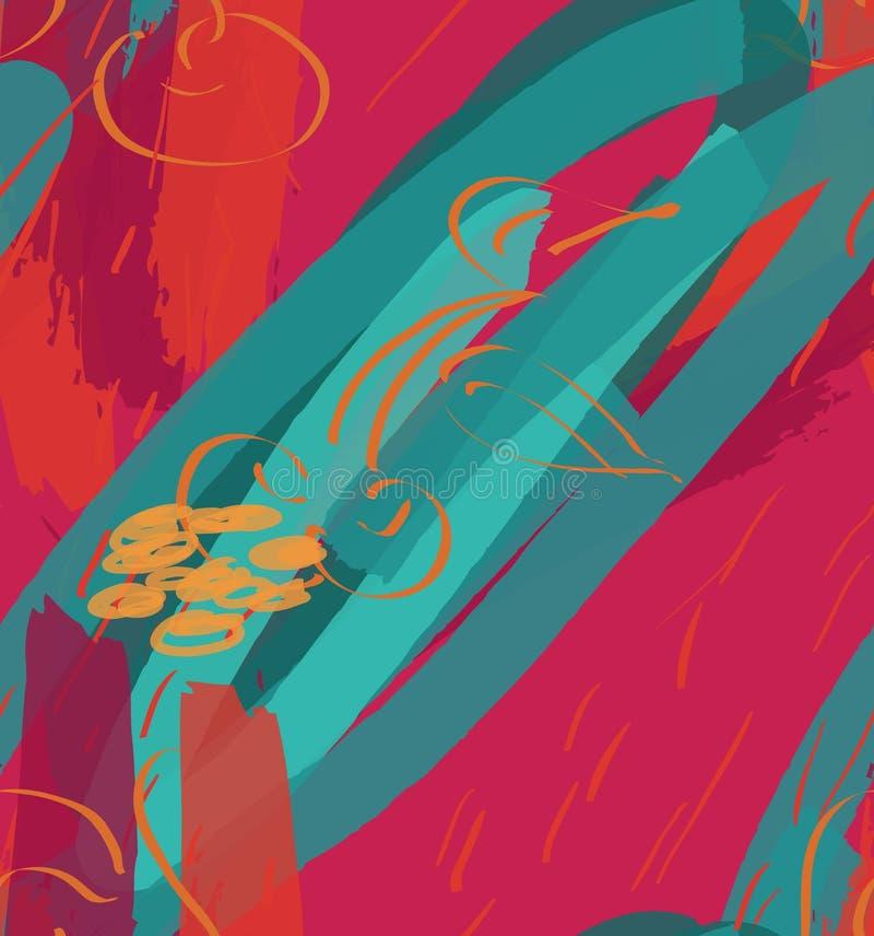 Texturerade markörbuseslaglängder och körsbär på ljusa rosa färger stock illustrationer