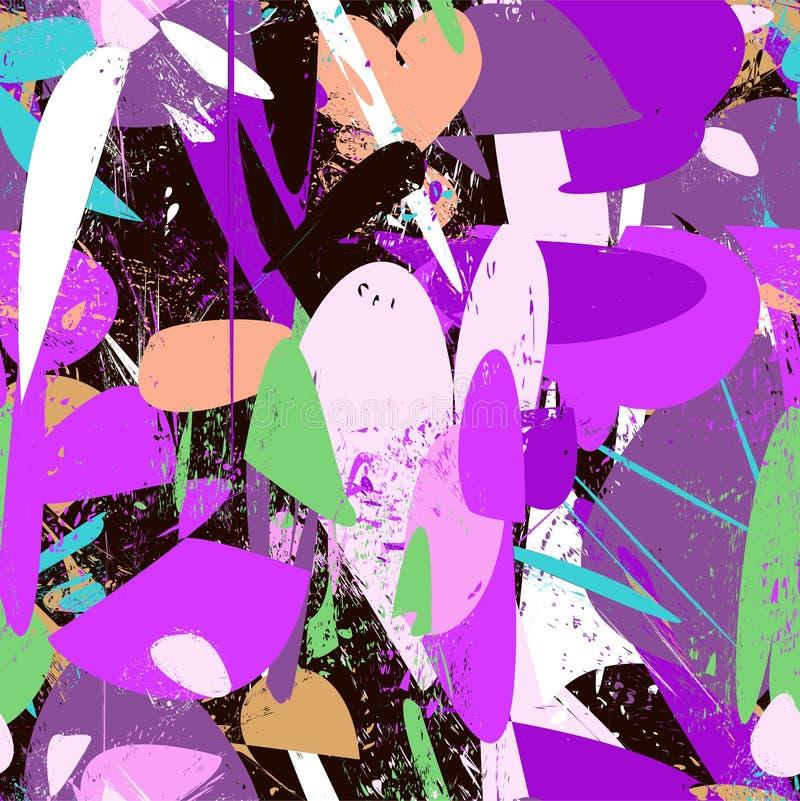 Texturerade strimmor, slaglängder, färgstänk och fläckar i purpurfärgat färgområde stock illustrationer