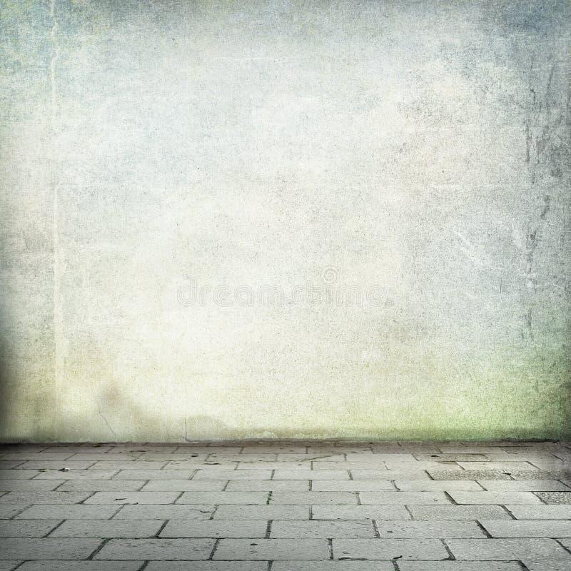 Texturerar den gammala väggen för Grungebakgrund och trottoarruminre utan tak vektor illustrationer