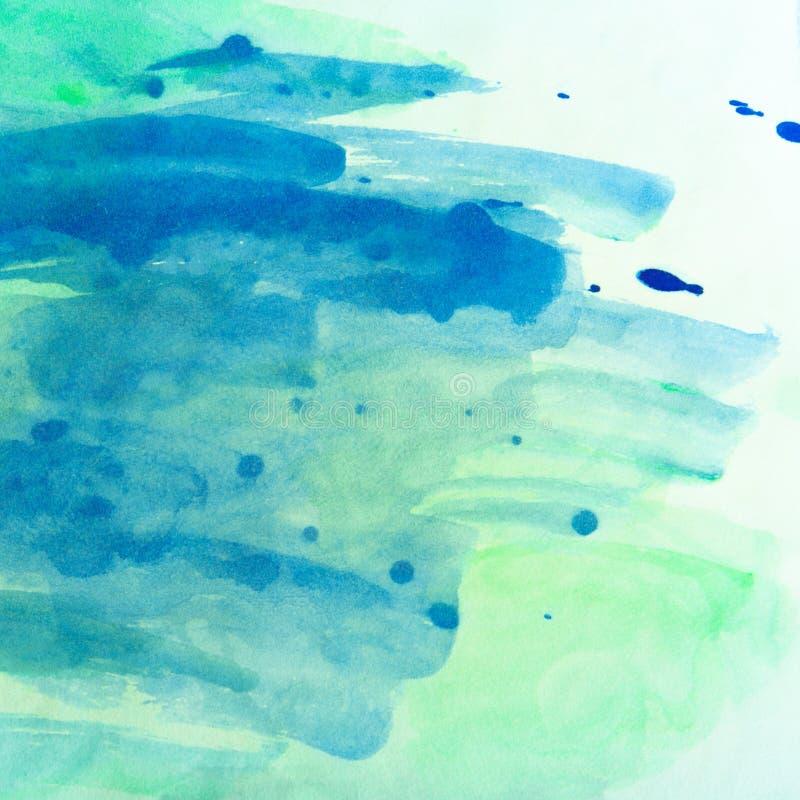 Texturerar den gröna horisontalmålade akvarellen för blått och för havet bakgrund arkivfoto