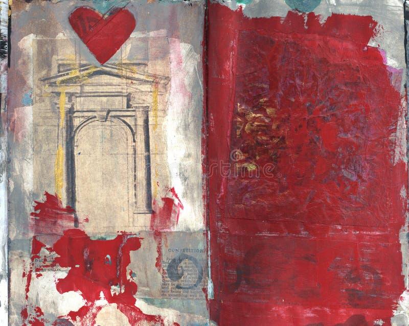 Texturerar rött abstrakt begrepp för hjärta collagemålning royaltyfri bild