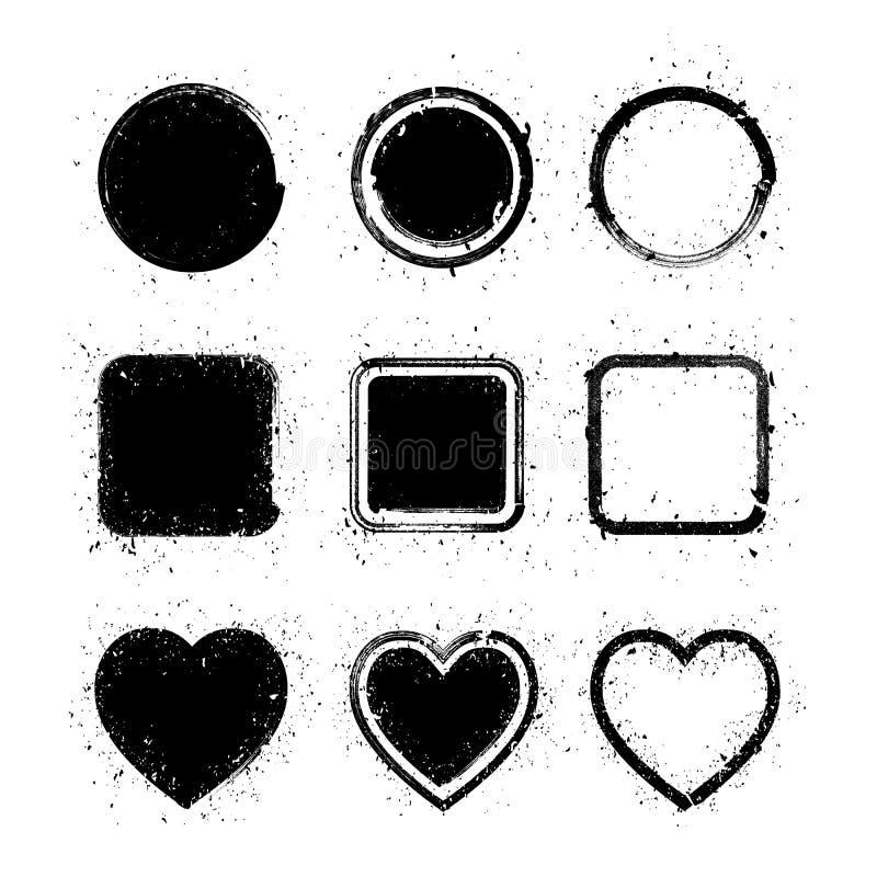 Texturerat abstrakt begrepp för grunge för målarfärgborsten formar - cirkeln, fyrkanten och hjärta royaltyfri illustrationer