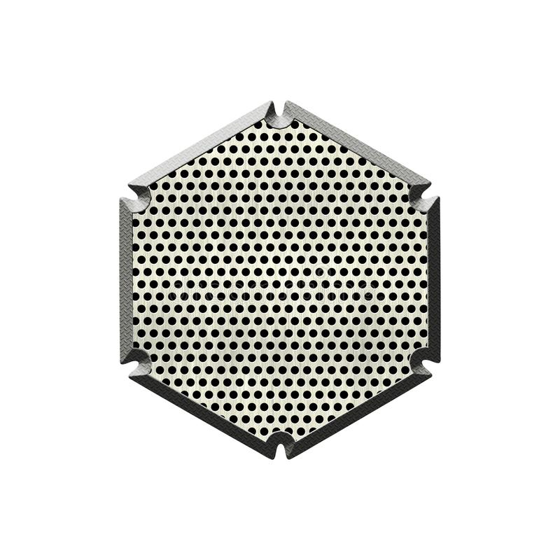 Texturerat emblem f?r metall prick vektor illustrationer