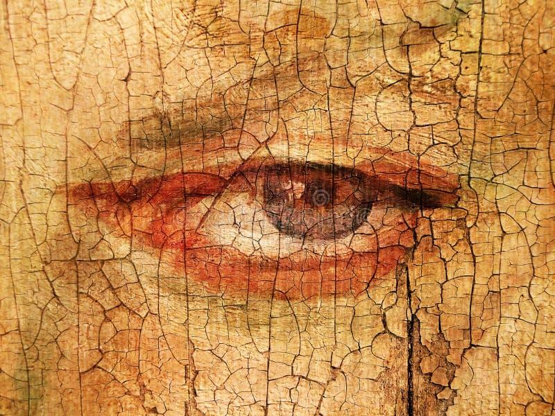 Texturerat och målat öga på den spruckna väggen stock illustrationer
