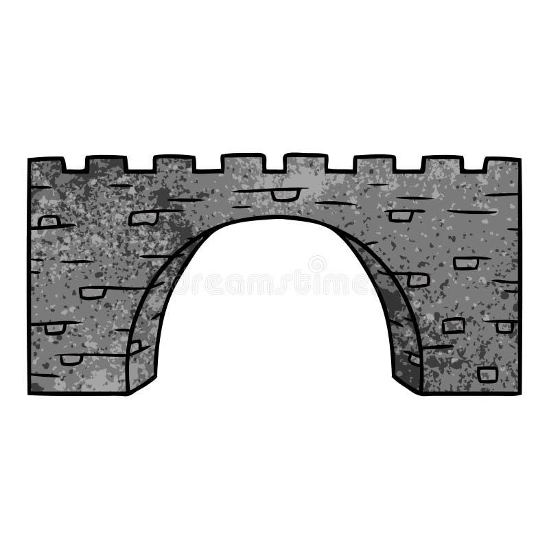 texturerat tecknad filmklotter av en stenbro royaltyfri illustrationer