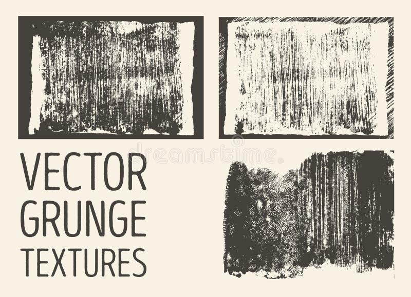 Textures abstraites monochromes de grunge de vecteur Ensemble de courses et de taches tirées par la main de brosse illustration libre de droits