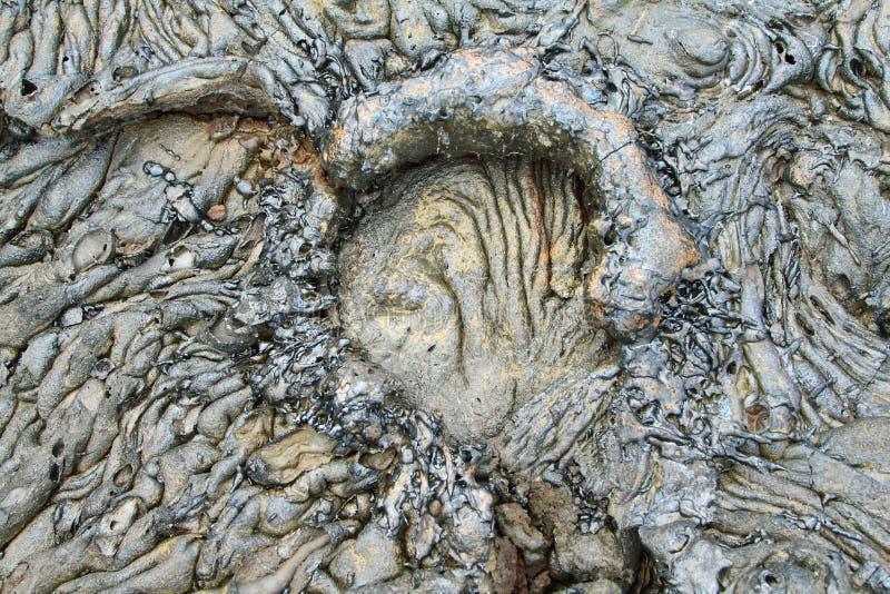 Textures of black lava (pahoehoe) in Santiago island. Galapagos, Ecuador royalty free stock image