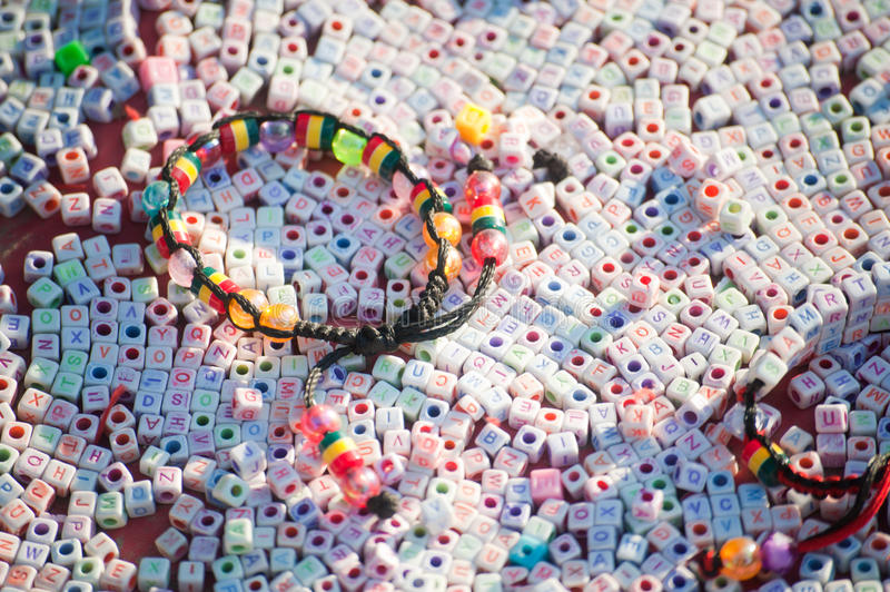 Textures of colorful plastic bracelet royalty free stock images