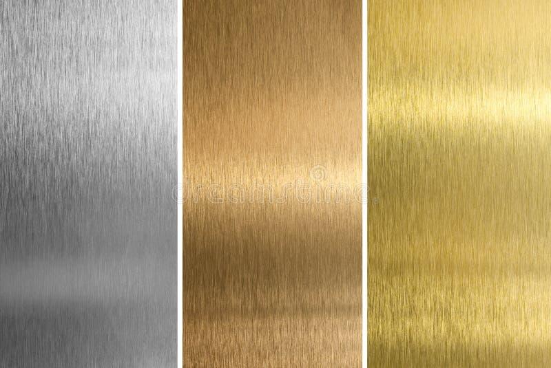 Textures d'argent, de bronze, en laiton ou d'or images libres de droits