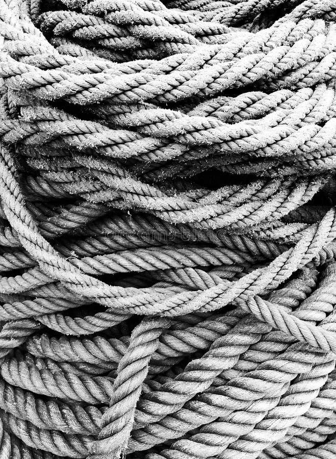 Textures de corde de pêche en noir et blanc image stock