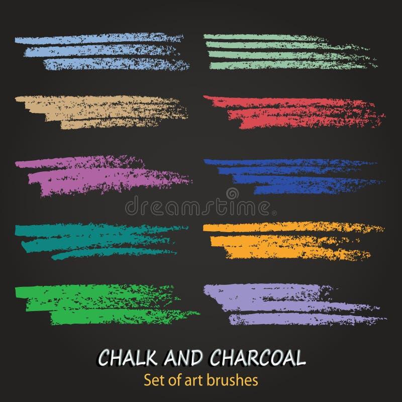 Textures de craie et de charbon de bois Courses de brosse de vecteur Couleurs en pastel douces Cadre décoratif Des brosses sont s illustration de vecteur