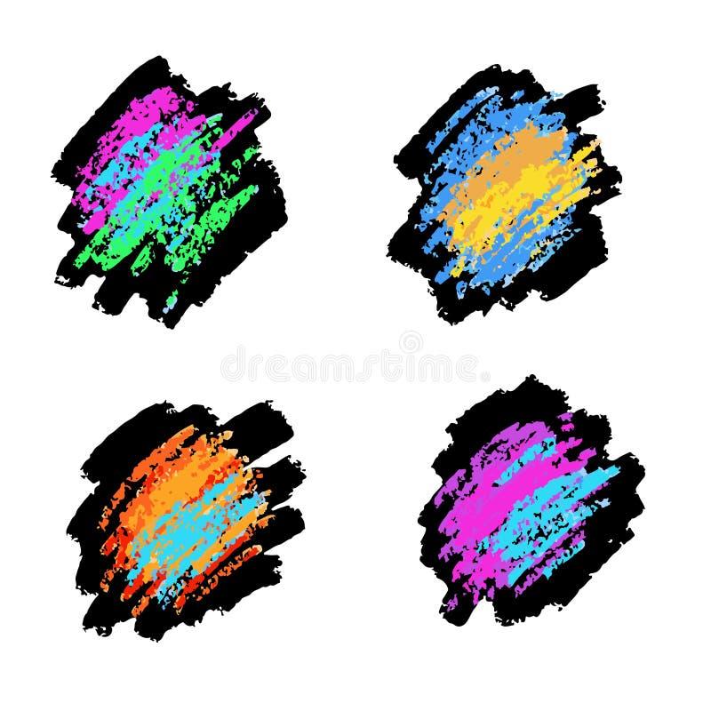 Textures de craie et de charbon Courses de brosse de vecteur Couleurs en pastel douces Configuration grunge photos stock