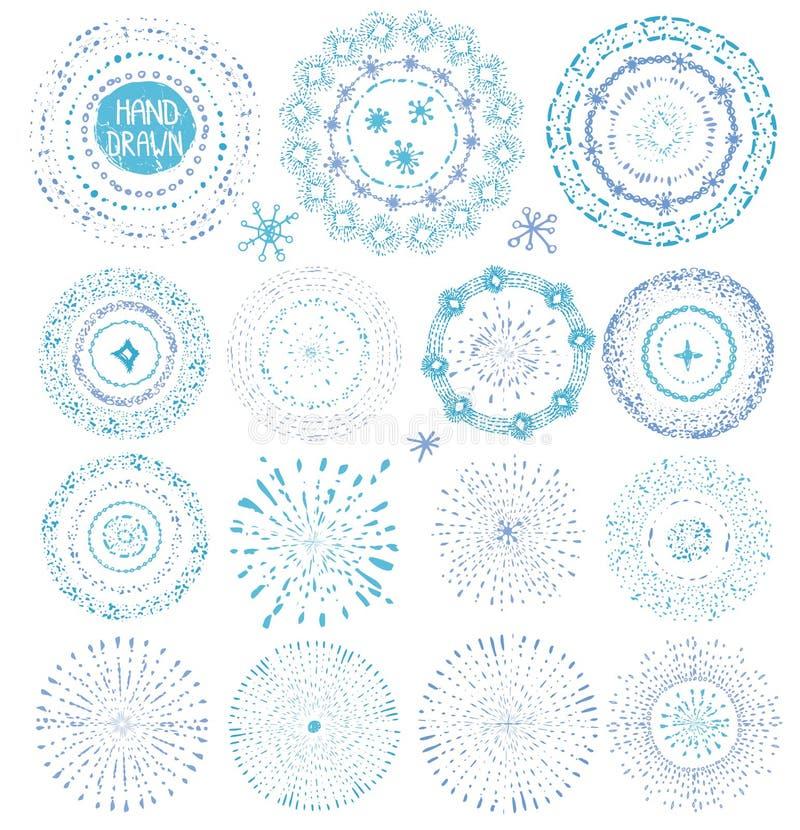 Textures de dessin de point de main Éclat, guirlande, cadre bleu illustration libre de droits