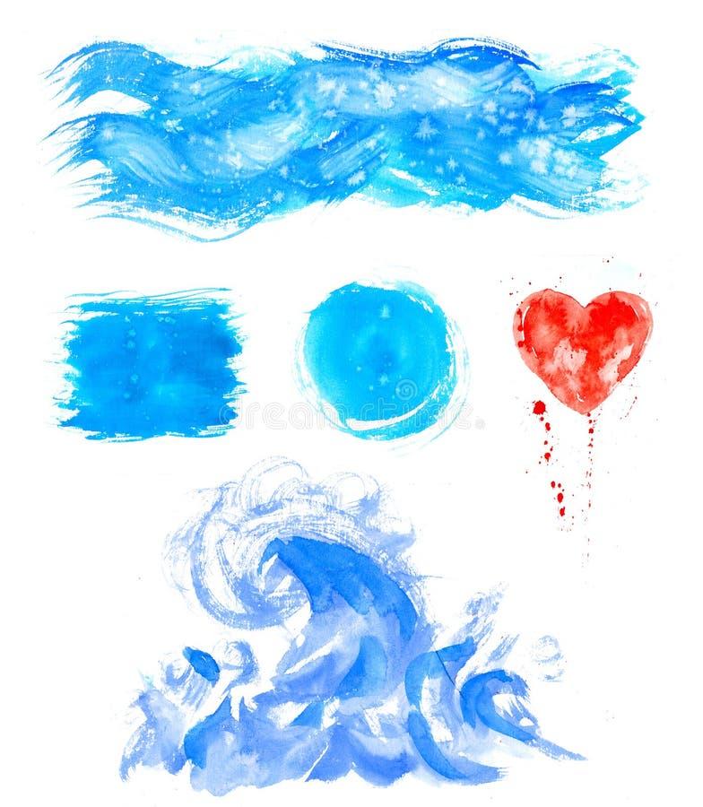 Textures de peinture de main d'aquarelle Les taches bleues, baisses de tache, éclabousse l'ensemble illustration libre de droits
