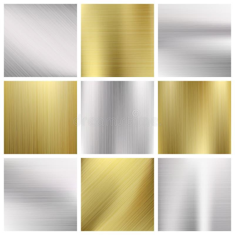 Textures de vecteur en métal réglées illustration stock