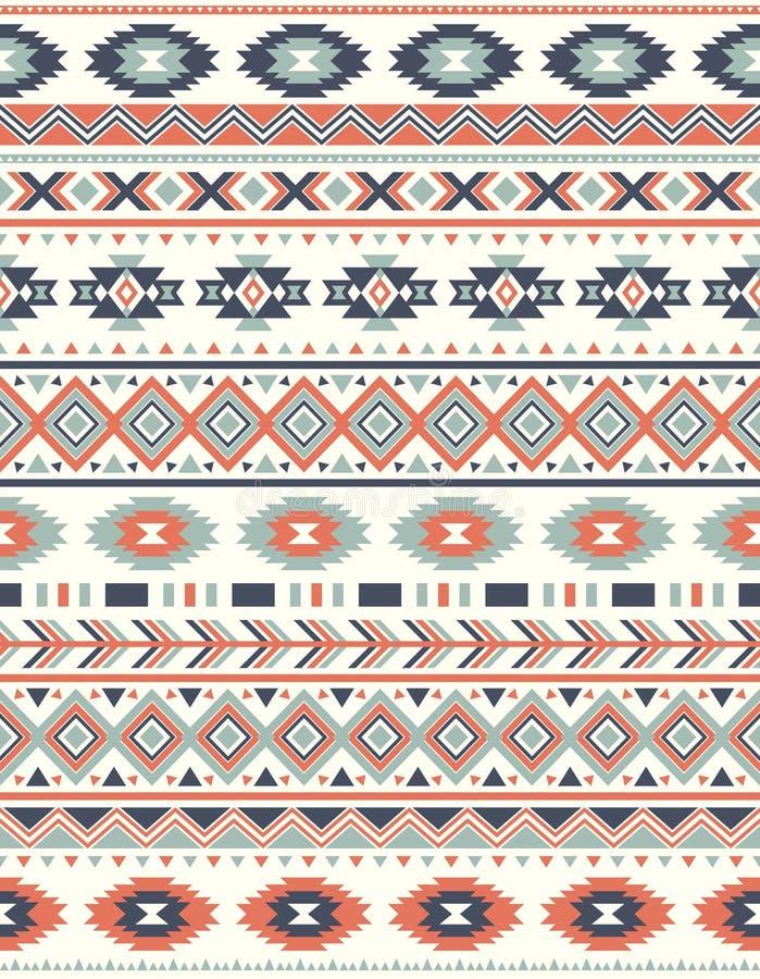 Textures ethniques sans couture de modèle Copie géométrique de Navajo abstrait Couleurs grises et oranges illustration de vecteur