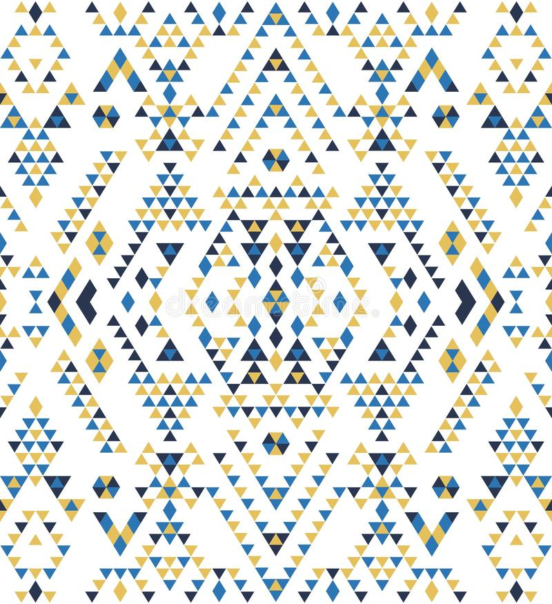 Textures ethniques sans couture de modèle Copie géométrique de Navajo abstrait Couleurs jaunes et bleues illustration de vecteur